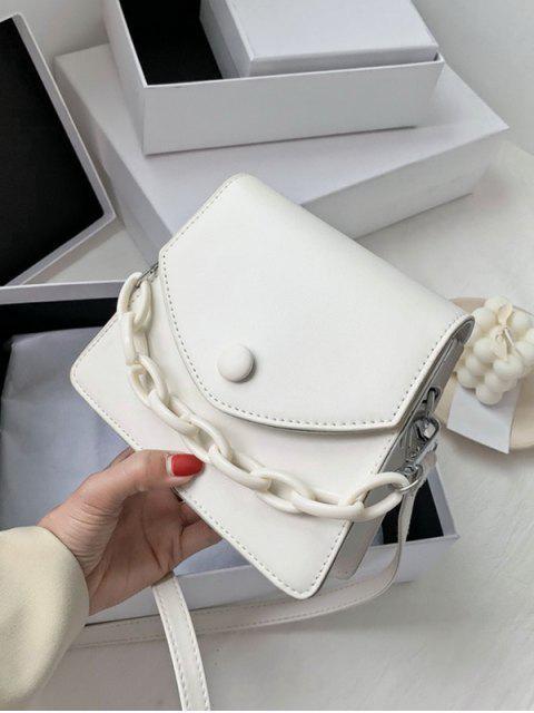 Mini Sac à Bandoulière à Rabat Embelli de Chaîne - Blanc  Mobile