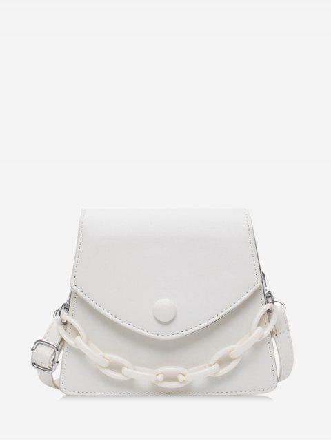 Chain Embellished Mini Flap Crossbody Bag - أبيض  Mobile