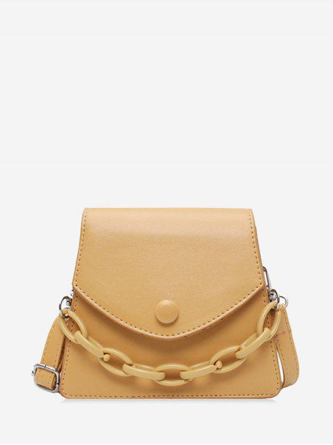 Chain Embellished Mini Flap Crossbody Bag - كاكي  Mobile