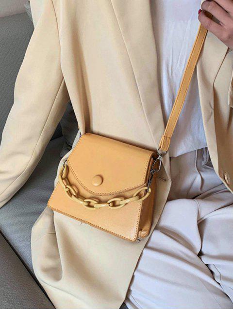 online Chain Embellished Mini Flap Crossbody Bag - KHAKI  Mobile