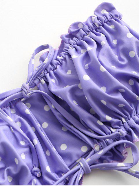 ZAFUL Tupfen Seitliche Boning Bandeau Bikini Badebekleidung - Helles Lila S Mobile