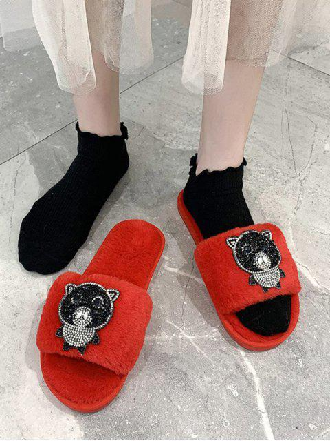 hot Rhinestone Bear Pattern Plush Slippers - CHESTNUT RED EU 37 Mobile