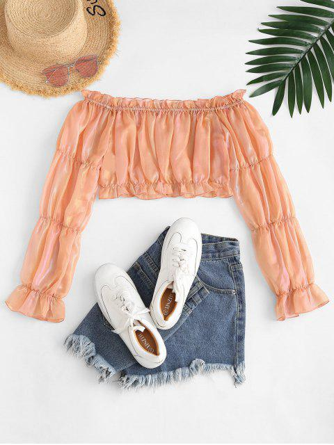 outfit ZAFUL Metallic Ruffle Off Shoulder Crop Blouse - LIGHT ORANGE M Mobile