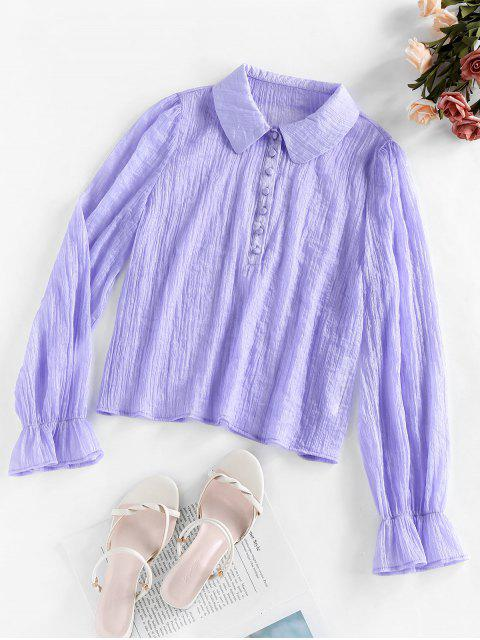outfits ZAFUL Button Poet Sleeve Blouse - LILAC M Mobile