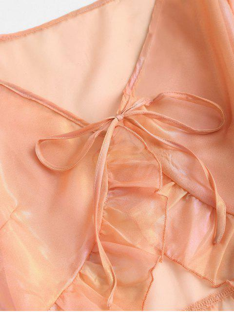 fashion ZAFUL See Thru Sheeny Flare Sleeve Flounce Blouse - LIGHT ORANGE L Mobile