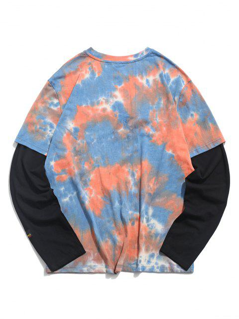 affordable Tie Dye Print Applique Doctor Sleeve T-shirt - ORANGE 2XL Mobile
