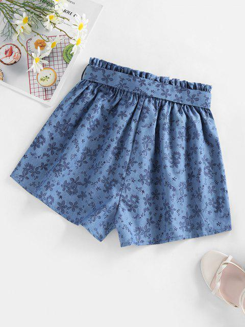 outfits ZAFUL Belted Floral Chambray Shorts - BLUE S Mobile