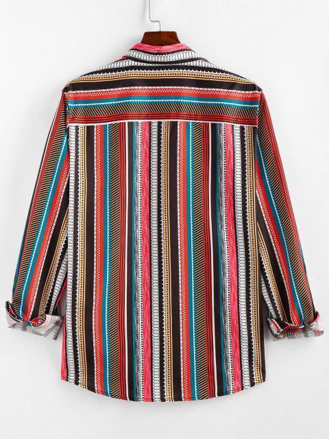 sale ZAFUL Geometric Striped Pocket Lounge Long Sleeve Shirt - MULTI M Mobile