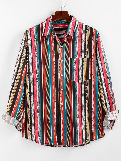 womens ZAFUL Geometric Striped Pocket Lounge Long Sleeve Shirt - MULTI 2XL Mobile