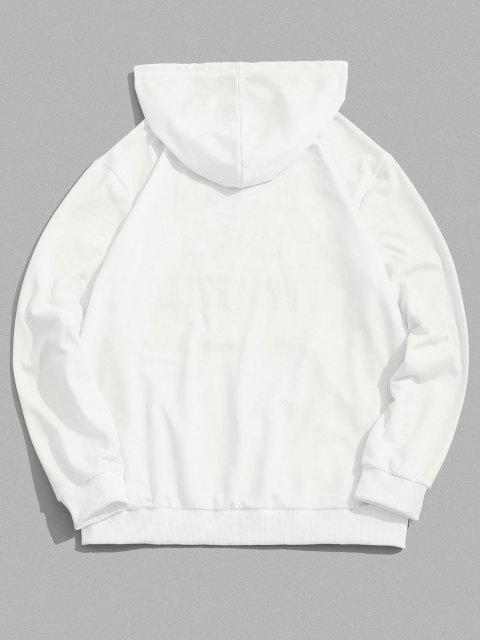 women's Skull Hand Rose Letter Print Pouch Pocket Hoodie - WHITE XL Mobile