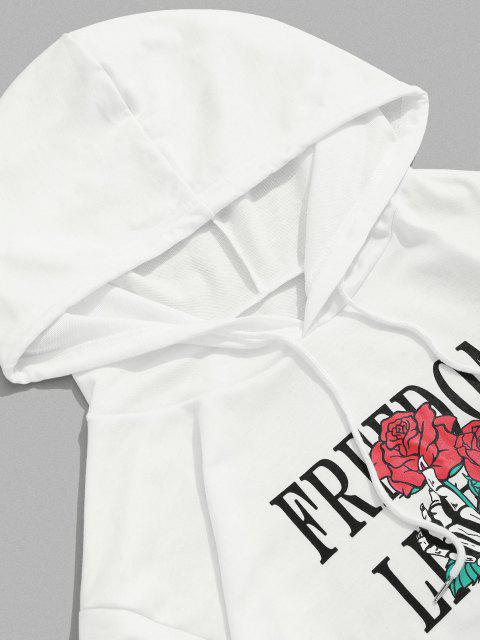 ladies Skull Hand Rose Letter Print Pouch Pocket Hoodie - WHITE 2XL Mobile
