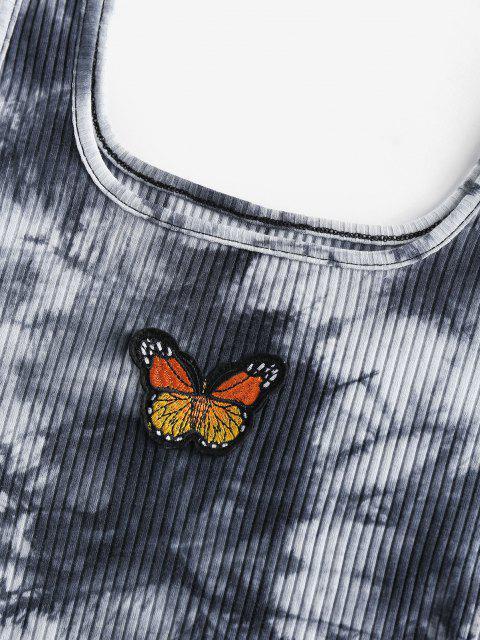 ZAFUL Haut Court Teinté Papillon Brodé - Noir XL Mobile