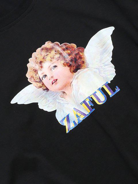 T-shirt Casuale con Stampa di Angelo - Nero S Mobile