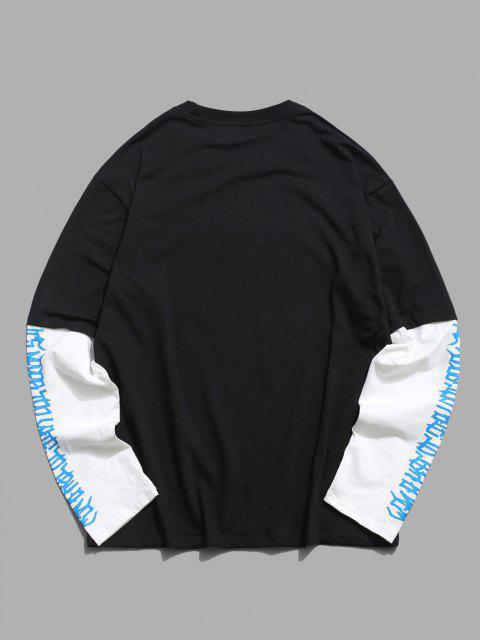 Doctor Sleeve Angel Print Casual T-shirt - أسود 2XL Mobile