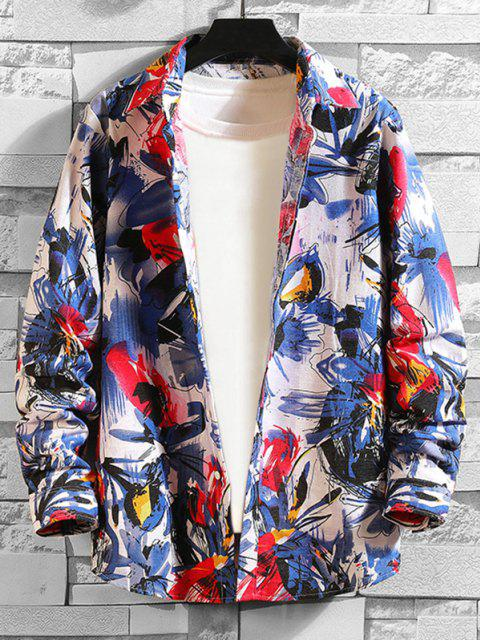 trendy Floral Painting Print Shirt - MULTI-A M Mobile