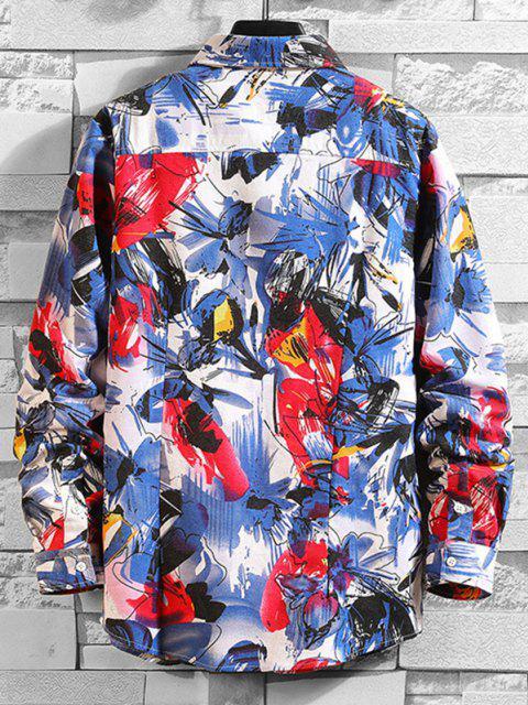 unique Floral Painting Print Shirt - MULTI-A 3XL Mobile