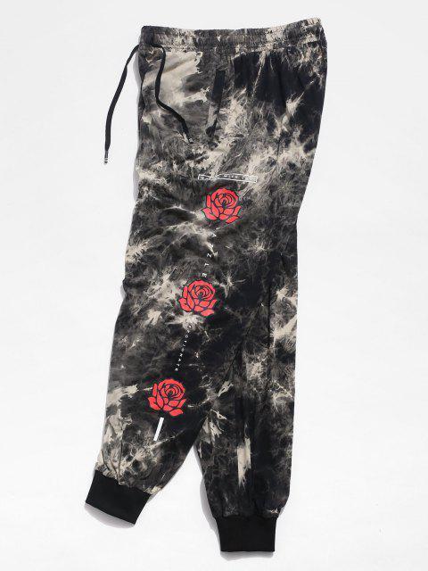 Pantalones Casuales de Estampado de Flores de Tie Dye - Gris L Mobile
