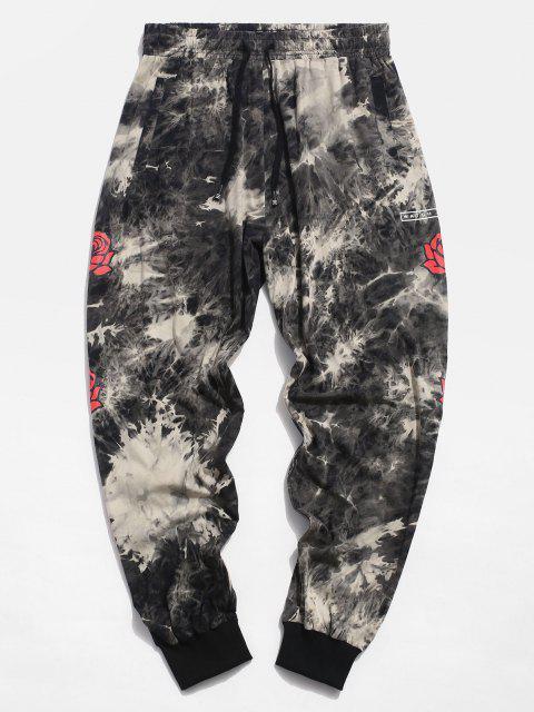 Pantalones Casuales de Estampado de Flores de Tie Dye - Gris 2XL Mobile