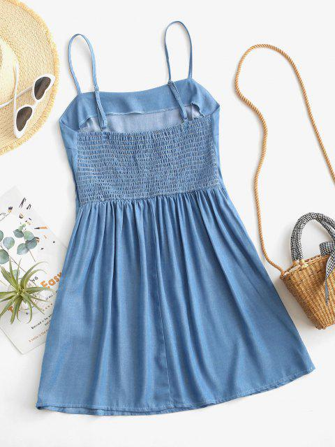 shops ZAFUL Chambray Smocked Back Cami Dress - LIGHT BLUE S Mobile