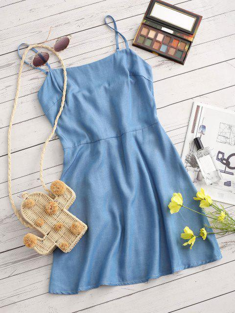 ZAFUL Chambray Smocked Back Cami Dress - أزرق فاتح S Mobile