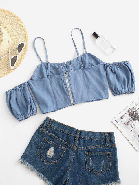 T-shirt Tordu Zippé à Epaule Dénudée en Vichy à Lacets - Bleu clair XL Mobile