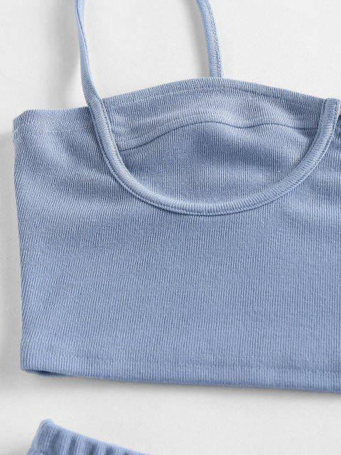 ZAFUL Conjunto de Cintura Alta com Nervuras em Concha - Azul claro L Mobile