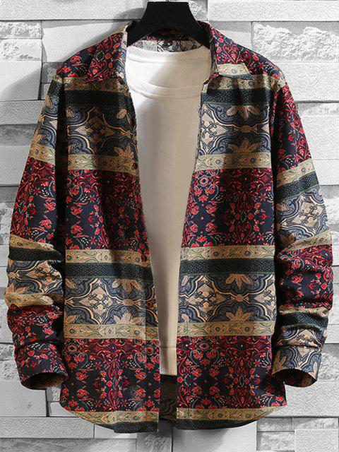 shop Tribal Floral Print Button Up Shirt - MULTI-A M Mobile