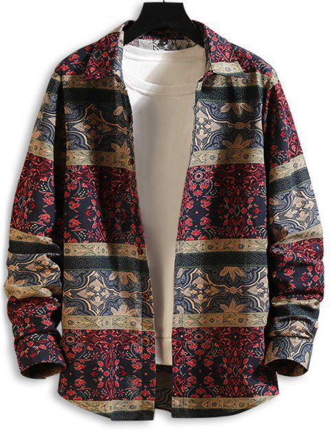 trendy Tribal Floral Print Button Up Shirt - MULTI-A 2XL Mobile