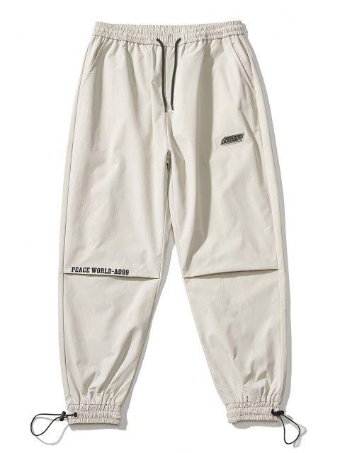 Pantalones Jogger Delgados Cintura Elástica Estampado Mundo - Blanco Cálido XS Mobile