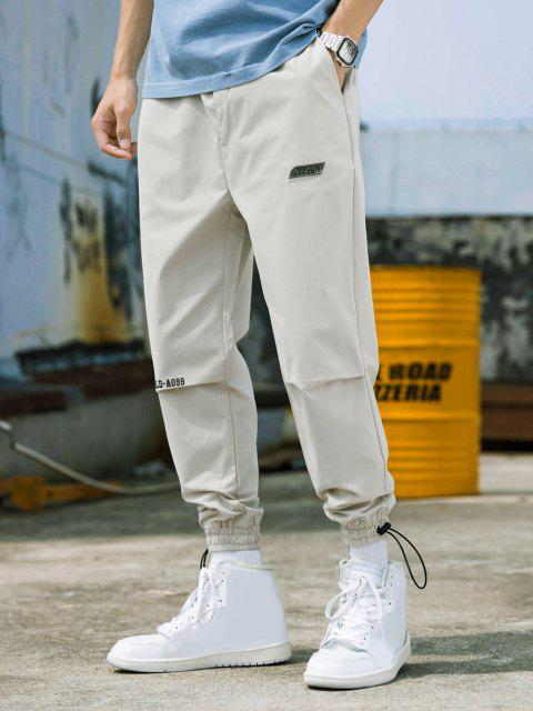 Pantalones Jogger Delgados Cintura Elástica Estampado Mundo - Blanco Cálido XL Mobile