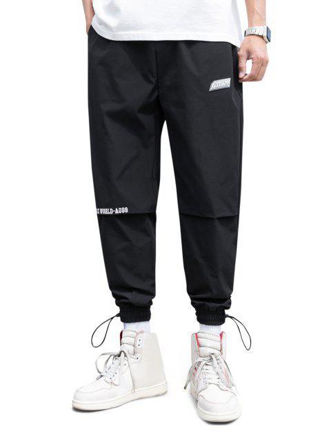 Pantalones Jogger Delgados Cintura Elástica Estampado Mundo - Negro S Mobile