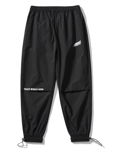 best Peace World Print Elastic Waist Jogger Pants - BLACK XL Mobile