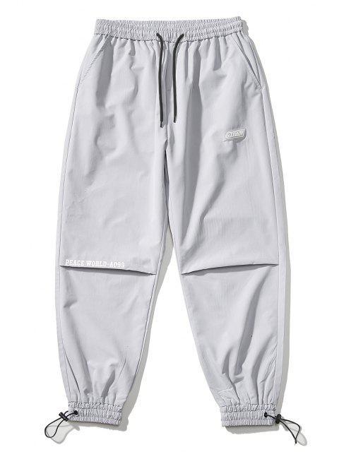 Pantalones Jogger Delgados Cintura Elástica Estampado Mundo - Gris Claro XS Mobile