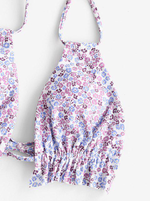 ZAFUL Ditsy Blumen Leiter Ausschnitt Bikini Badebekleidung - Helles Lila S Mobile