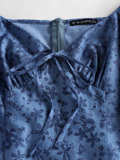 Mini Vestido Manga Soplo Estampado Floral ZAFUL - Azul S Mobile