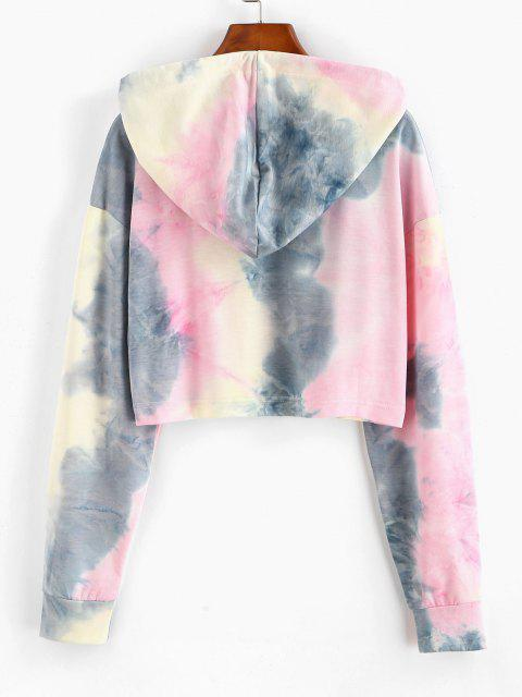 best Dragon Print Oriental Tie Dye Drawstring Hoodie - LIGHT PINK S Mobile