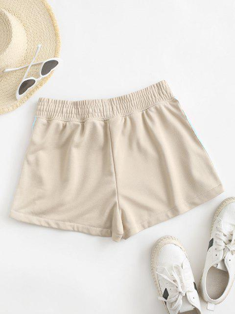 shops Rainbow Side Drawstring High Waisted Shorts - ANTIQUE WHITE M Mobile