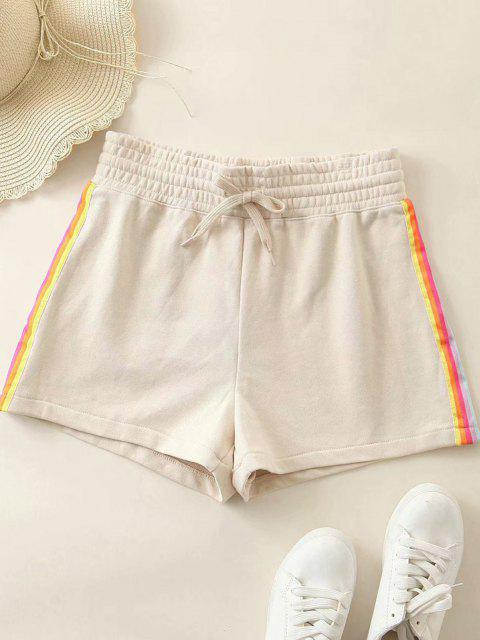 hot Rainbow Side Drawstring High Waisted Shorts - ANTIQUE WHITE L Mobile