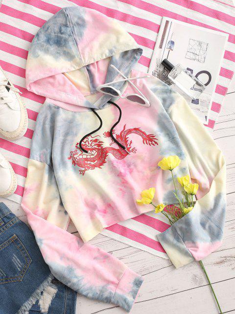 Dragon Print Oriental Tie Dye Drawstring Hoodie - وردي فاتح XL Mobile
