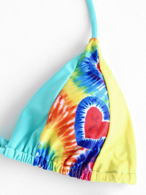 ladies ZAFUL Colorblock Tie Dye High Cut Bikini Swimwear - LIGHT BLUE S Mobile