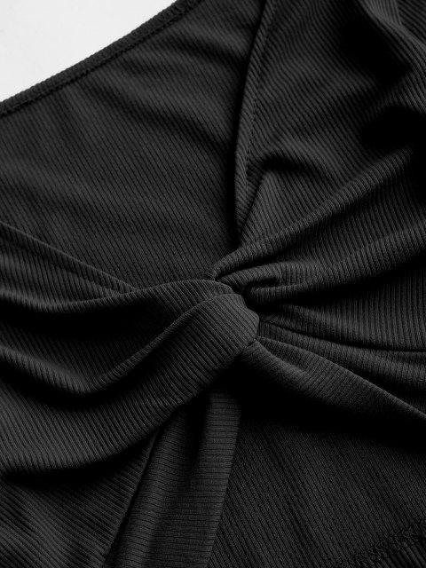 Haut Court Enveloppant Côtelé - Noir S Mobile