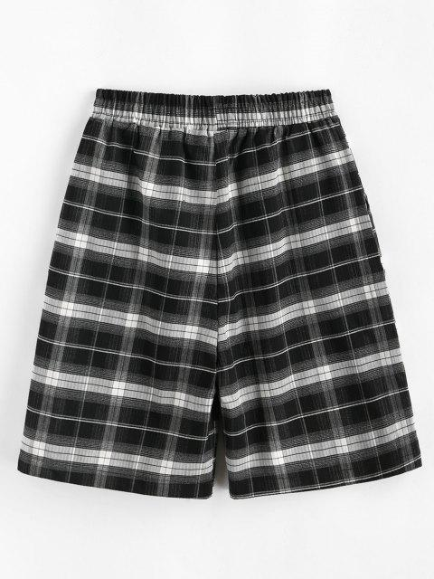 sale Boyish Plaid Pocket Bermuda Shorts - BLACK XL Mobile
