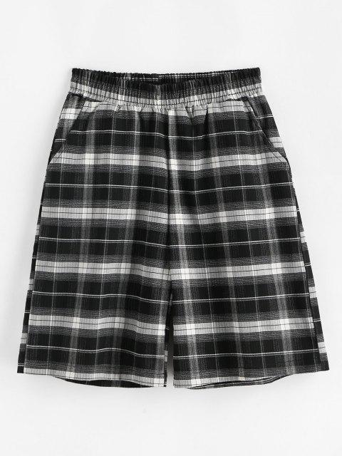 buy Boyish Plaid Pocket Bermuda Shorts - BLACK S Mobile