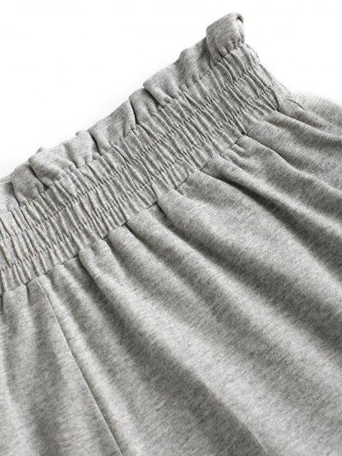 fancy ZAFUL Paperbag Heathered Shorts - LIGHT GRAY L Mobile