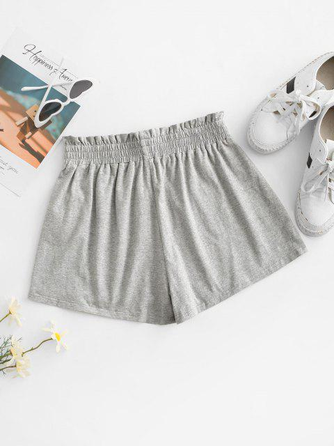 lady ZAFUL Paperbag Heathered Shorts - LIGHT GRAY XL Mobile
