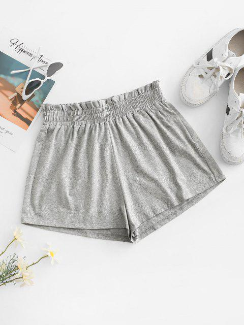 outfits ZAFUL Paperbag Heathered Shorts - LIGHT GRAY M Mobile