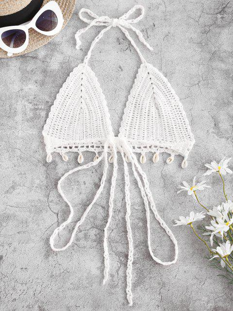 women's Crochet Shell Embellished Bralette Halter Bikini Top - WHITE M Mobile