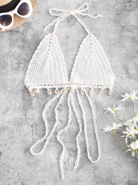 ladies Crochet Shell Embellished Bralette Halter Bikini Top - WHITE L Mobile