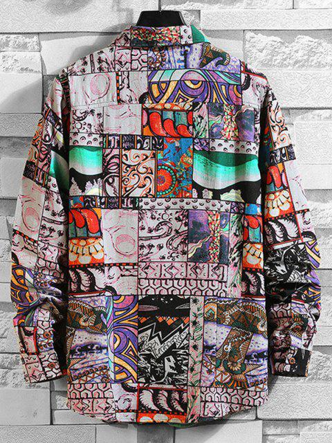 online Comic Graphic Print Long Sleeve Shirt - MULTI-A 3XL Mobile