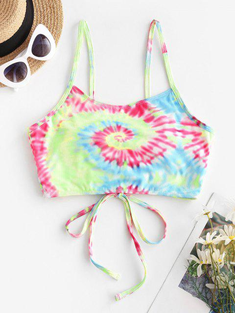 outfits ZAFUL Ribbed Tie Dye Lace Up Bikini Top - MULTI L Mobile